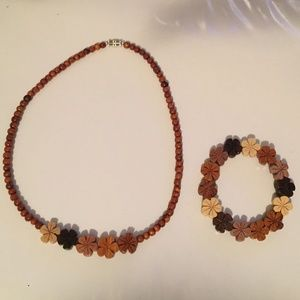 Jewelry - Hand-Carved Wooden Bead Necklace and Bracelet Set